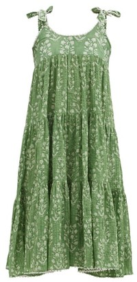 Juliet Dunn Tie-shoulder Tiered Floral-print Cotton Dress - Green White