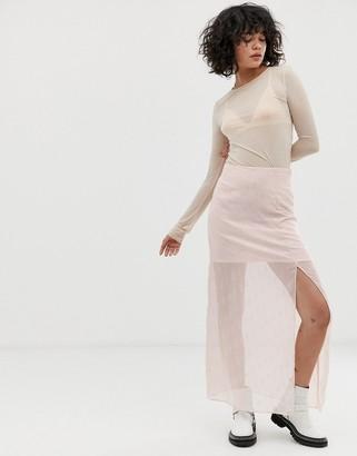 Wild Honey slip skirt in embellished sheer satin