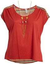 Paparazzi Red Geo Cap-Sleeve Top & Necklace - Plus