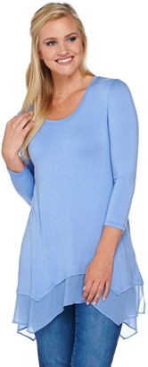 Logo by Lori Goldstein 3/4 Sleeve Knit Top with Chiffon Hem