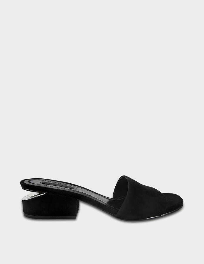 Alexander Wang Lou Low Heel Sandals in Black Goatskin