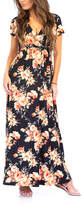 California Trading Group Women's Maxi Dresses BlackEX - Black Floral Surplice Maxi Dress - Women