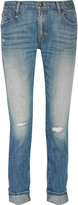 R 13 Slouch Skinny distressed straight-leg jeans