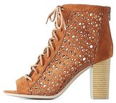 Charlotte Russe Qupid Laser Cut Lace-Up Booties