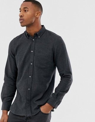 French Connection plain flannel shirt-Grey