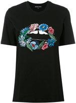 Markus Lupfer embroidered flower lips T-shirt - women - Cotton/Plastic/glass - M