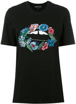 Markus Lupfer embroidered flower lips T-shirt - women - Cotton/Plastic/glass - S