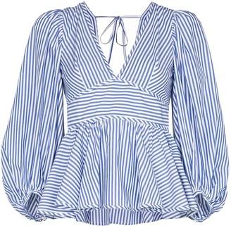 STAUD V-neck striped cotton blouse