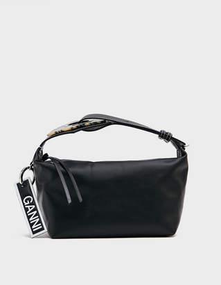 Ganni Leather Holdall in Black