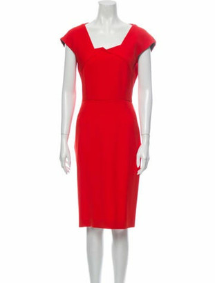 Roland Mouret Square Neckline Knee-Length Dress w/ Tags Red