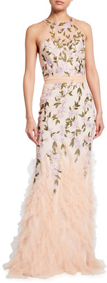Marchesa Notte Floral Embroidered Ruffle-Hem Halter Gown
