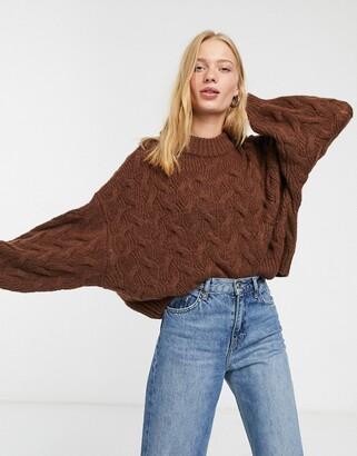 Weekday Lizzie chevron round neck jumper in brown