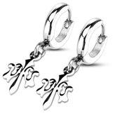 West Coast Jewelry Pair of Stainless Steel Hoop Earrings with Fleur De Lis Dangle