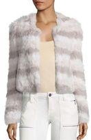 Joie Toshi Rabbit Fur Chevron Jacket