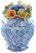 Mackenzie Childs MacKenzie-Childs MacKenzie-Childs Delphinium Cake & Flowers Ball Vase