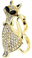 Body Candy Size 7-8 Clear Fashion Feline Double Finger Ring