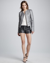 L'Agence Zip-Front Leather Shorts