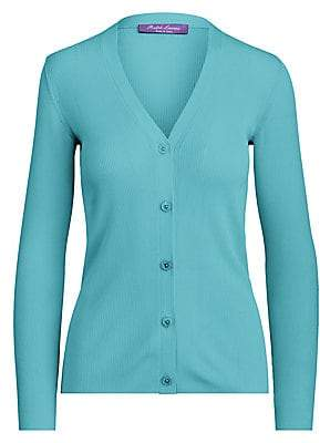 Ralph Lauren Women's Silk Ribbed Cardigan