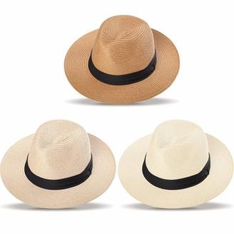 Satinior 3 Pieces Women Panama Straw Hat Wide Brim Straw Hat Roll up Cap Beach Sun Hat (Brown