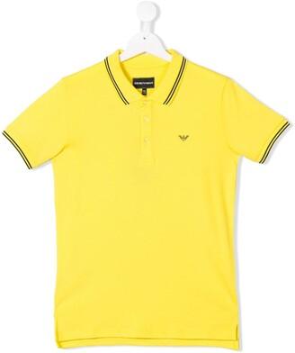 Emporio Armani Kids Yellow Polo Top