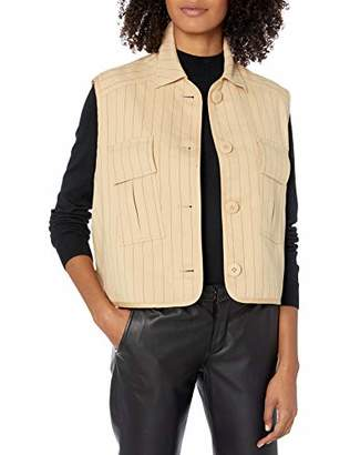 Armani Exchange A|X Women's Sleeveless Button Up Shirt with Safari Pockets