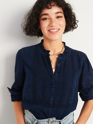 Old Navy Chambray Pintucked-Yoke Popover Blouse for Women