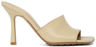 Bottega Veneta Beige Stretch Heeled Mules
