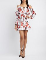 Charlotte Russe Floral Cold Shoulder Skater Dress