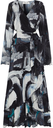 Diane von Furstenberg Bernyce Asymmetric Printed Stretch-mesh Maxi Wrap Dress