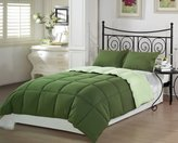 Chezmoi Collection 3-Piece Green/Light Green Super Soft Goose Down Alternative Reversible Comforter Set, Queen/Full Size