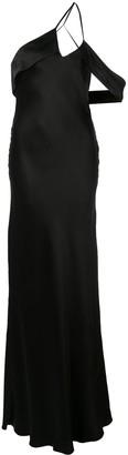 Mason by Michelle Mason Draped-Shoulder Silk Gown