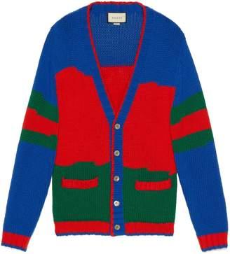 Gucci Oversize striped wool cardigan
