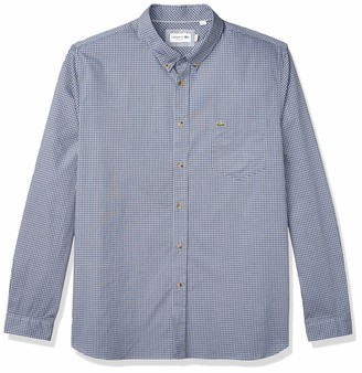 Lacoste Men's Long Sleeve Regular Fit Gingham Woven Shirt