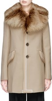 Marc Jacobs Detachable lambskin fur collar twill coat