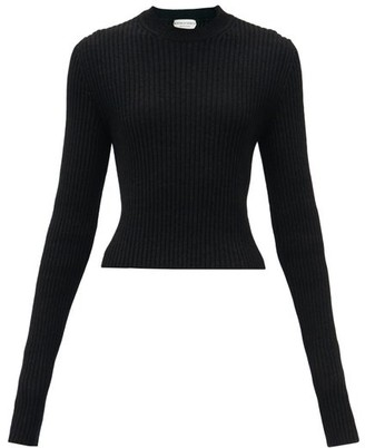 Bottega Veneta Cropped Ribbed-knit Sweater - Black