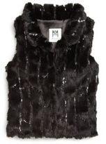 Milly Girl's Sequined Faux Fur Vest