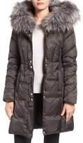 Via Spiga Women's Water Repellent Quilted Puffer Coat With Faux Fur Trim