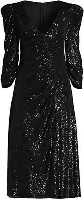 Sachin + Babi Kayla Sequin Ruched V-Neck Dress