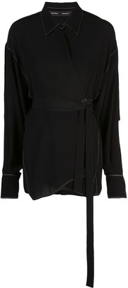 Proenza Schouler Exaggerated Epaulet Long Sleeve Wrapped Top