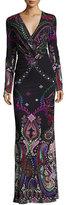 Roberto Cavalli Magic Carpet Paisley-Print Long-Sleeve Gown, Black