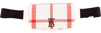 Burberry White And Red Checked Lola Belt Bag