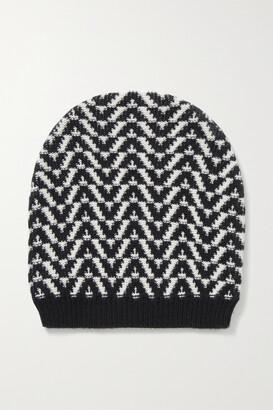 Valentino Garavani Wool And Cashmere-blend Jacquard Beanie - Black