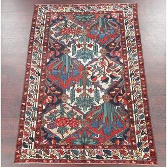 Solano Isabelline One-of-a-Kind Antique Geometric Bakhtiari Persian Hand-Knotted 4' 5'' x 6' 6'' Wool Brown/Charcoal Area Rug Isabelline