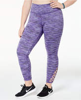 Ideology Plus Size Cutout Space-Dyed Ankle Leggings, Created for Macy's