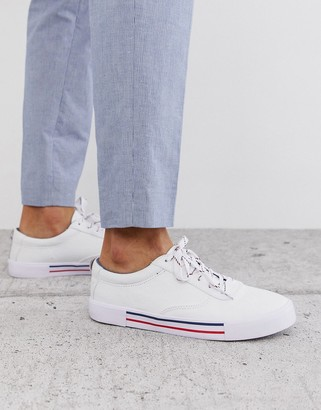 ASOS DESIGN lace up plimsolls in white with navy and red detailing
