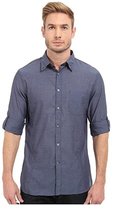 John Varvatos Roll Up Sleeve Shirt w/ Button Down Collar Single Pocket (Marine) Men's Long Sleeve Button Up