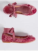 Marks and Spencer Kids' Velvet Bow Ballerina Shoes