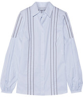 Gabriela Hearst - Wight Embroidered Pinstriped Cotton Shirt - Blue