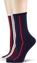 Tommy Hilfiger Women's TH Vertical Stripe 2P Calf Socks,pack of 2