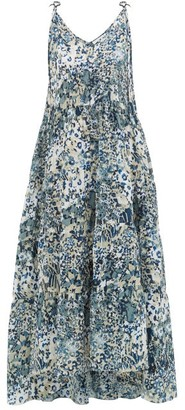 Marios Schwab On The Island By Missi Tiered Floral-print Silk Dress - Womens - Blue Print